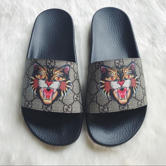 9654d9e58e2c5 Gucci Shoes - Gucci Pursuit Tiger Print Slides